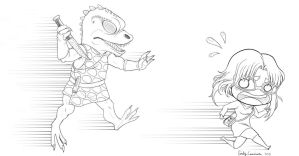 Gorn Chasing Robyn Lineart by OtakuEC