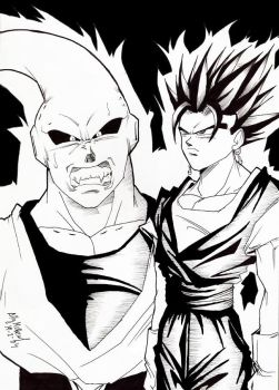 OLD DRAW: VEGETTO VS S.BOO by dragonballdeviants