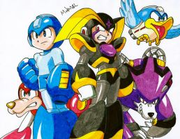 Megaman and Bass by MikeES