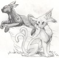 Espeon and Umbreon by goensart