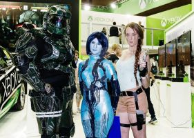 Master Chief, Cortana and Lara Croft Cosplay by SpartanJenzii