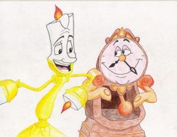 lumiere and cogsworth by Spongebobluvr66