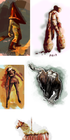Silent Hill Monsters (drawing practice) by pax-etlux