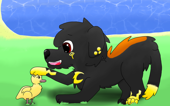 A pupper and a duckling by Ravenwolf845