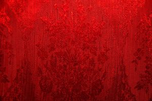 Fine red threads - fabric by paintresseye