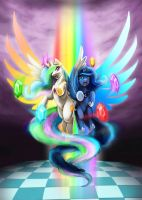 Princess Luna and Celestia - Harmony Wielders by slifertheskydragon