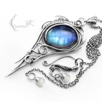 DIARGHNIS - silver and moonstone by LUNARIEEN