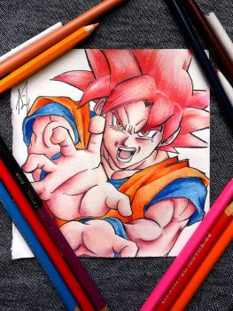 SSJ GOD - GOKU - COLOR PENCILS by Iza-nagi