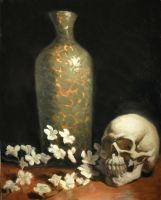 Skull and Cherry Blossoms by DeeLock