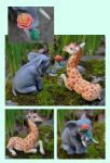 Elephant and Giraffe Wedding Cake Topper by gummiberri