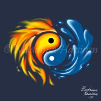 Yin and Yang-Water and Fire 2 by ColorfulArtist86