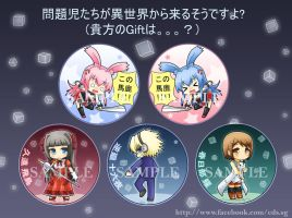 Mondaiji tachi badges by GreenTeaNeko