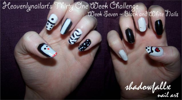 Week Seven - Black and White Nails by shadowfallx