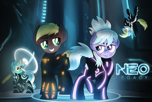 Tron Ponies Commission by drawponies