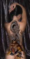 Tattoo Dragon and Tiger by byra666