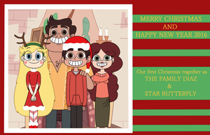 Family Diaz and Star Butterfly Christmas card by Deaf-Machbot