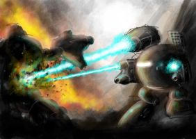 mechs in combat 2 by greensandsguy