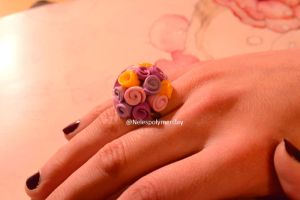 Flower ring polymer clay by Nelespolymerclay