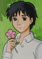 Sho with flowers ACEO card by LadyNin-Chan