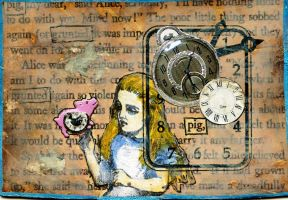Alice's Pig ATC by LauraTringaliHolmes