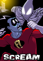 Freakazoid and Candlejack by dwaynebiddixart