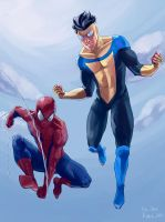 INVINCIBLE + SPIDER-MAN by kiraoka