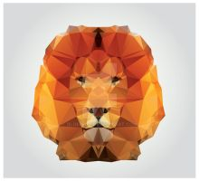 Geometric polygon lion head, triangle pattern by BlueLela