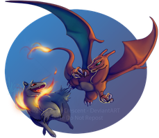 Pokemon - Charizard and Typhlosion by ZaidaCrescent