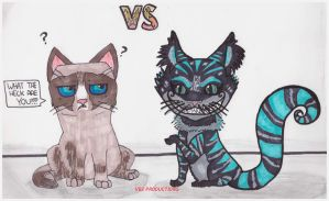Grumpy Cat VS Cheshire Cat! by vctoriabb2