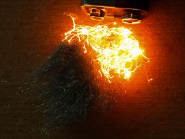 9V battery and steel wool :) by alennzg