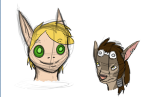 :Doodle WoW: WorgenAndBloodElf by IronMeow
