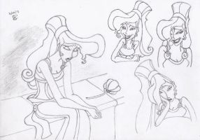 Megara pencil sketches by AngelinaMoonlight