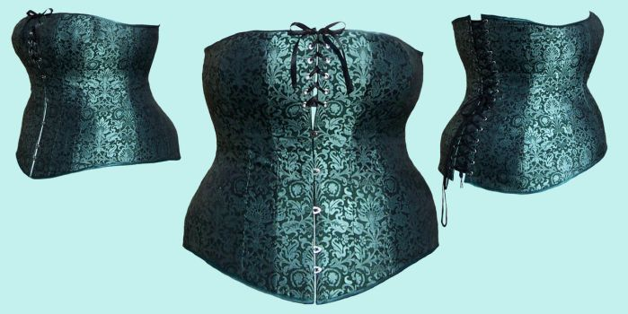 Green Silk Corset by Janes-Wardrobe