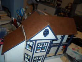 Retro Dollhouse WIP: Rooftop painting phase 1 by kayanah