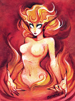 Fire Elemental - Watercolor by Sabtastic