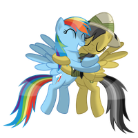 RainbowDash hugs DaringDo by DolphinFox