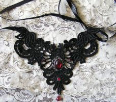 red goth victorian necklace by kaitani81