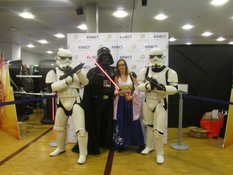 When Yuna meets Darth Vader and two Stormtroopers. by Taninhah