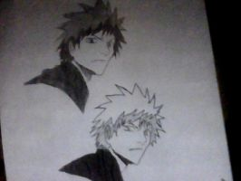 ichigo inked and pencil by t2thea2them