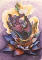 LORD KRISHNA'S HAND ON A LOTUS by Maestro-Johann