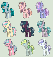 Cool Colored Pony Palette Adopts - CLOSED by whiizu