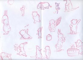 Winnie the Pooh stories quick sketches by WulfFather