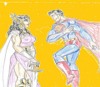 Hippolyta meets Superman by theaven