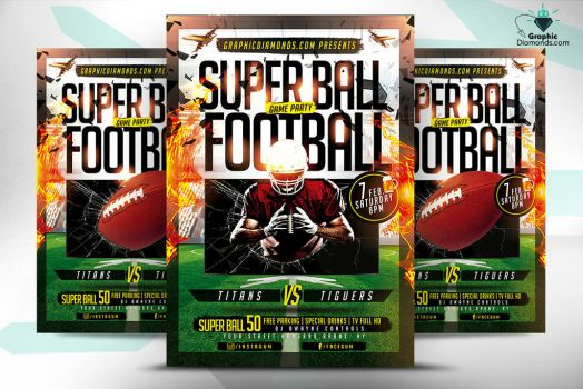Super Ball Football Game Flyer by GraphicDiamonds