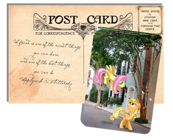 Pony Postcard - Applejack and Fluttershy by selinmarsou