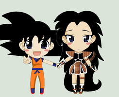 Goku and Raditz by Shadethebathog