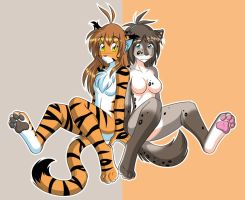 Flora and Kat Back to Back by Twokinds