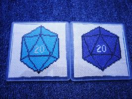 D20 cross stitched gifts by KitsuneGemma