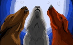 Three howling wolves by Iceystar8