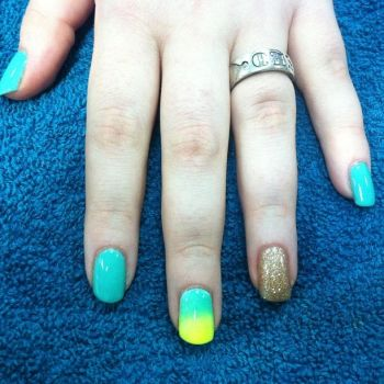 Gold yellow and turquoise ombre nails by hiimgaymolly